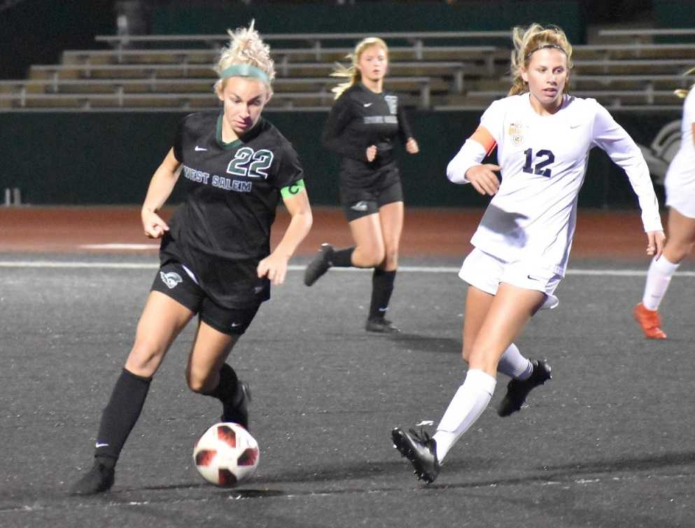 Paige Alexander (22) has 18 goals and 10 assists for West Salem. (Reid Holcomb/RFHproductions)