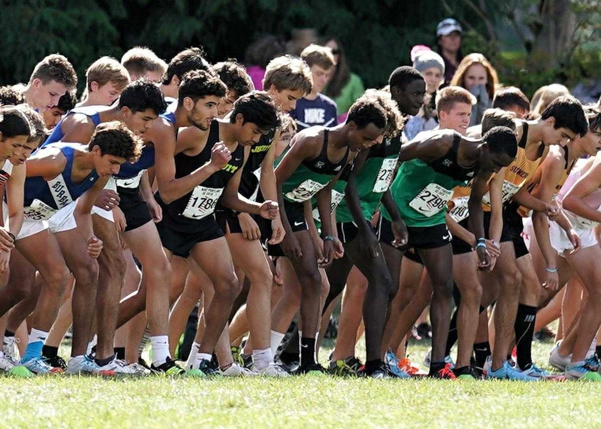 Boys line up to race in the Nike Portland XC meet on Sept. 28. (Photo by Jon Olson)