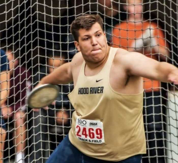 Henry Buckles won the 5A shot and was second in the discus as a sophomore. (Photo courtesy Hood River Valley HS)