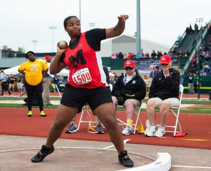 Jaida Ross threw the shot 48-5 last year for her second state championship. (Photo courtesy North Medford HS)