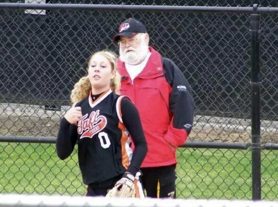 Ashley Birdsong warms up under the watchful gaze of her grandpa