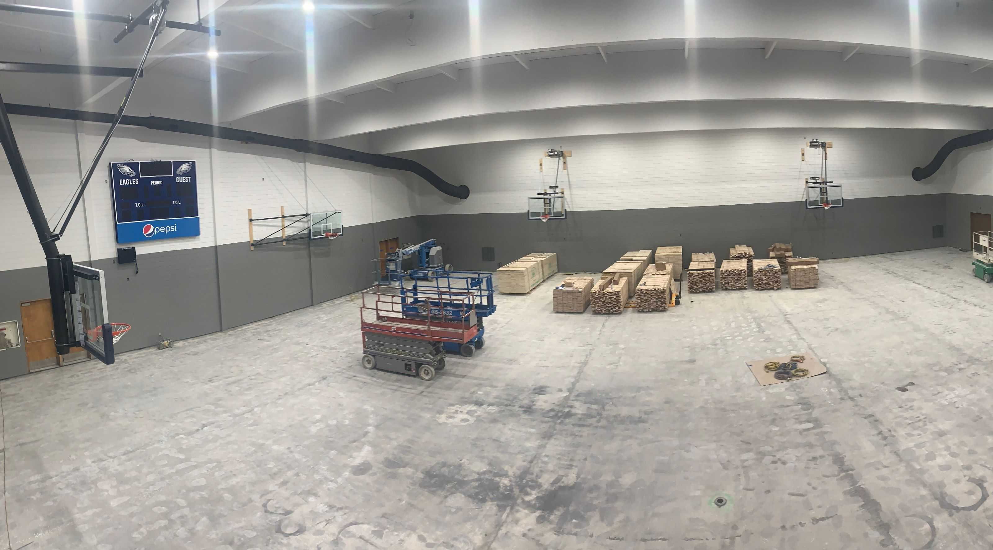 Work continues on Joseph's new gym, which should be ready for use by mid-October. (Photo courtesy Joseph Charter School)