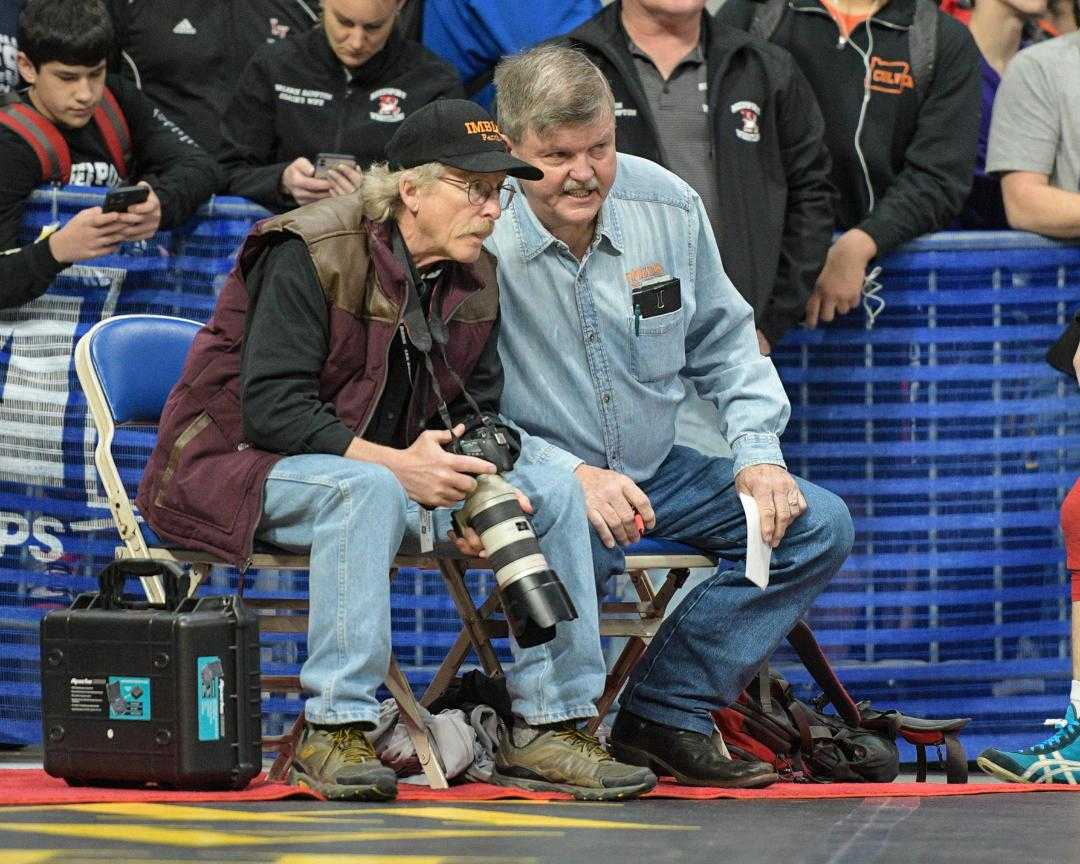 Coaches Doug Hislop (right) and Ron Osterloh (left) bring plenty of experience to the mat for Imbler. (Photo by Kristi Cason)