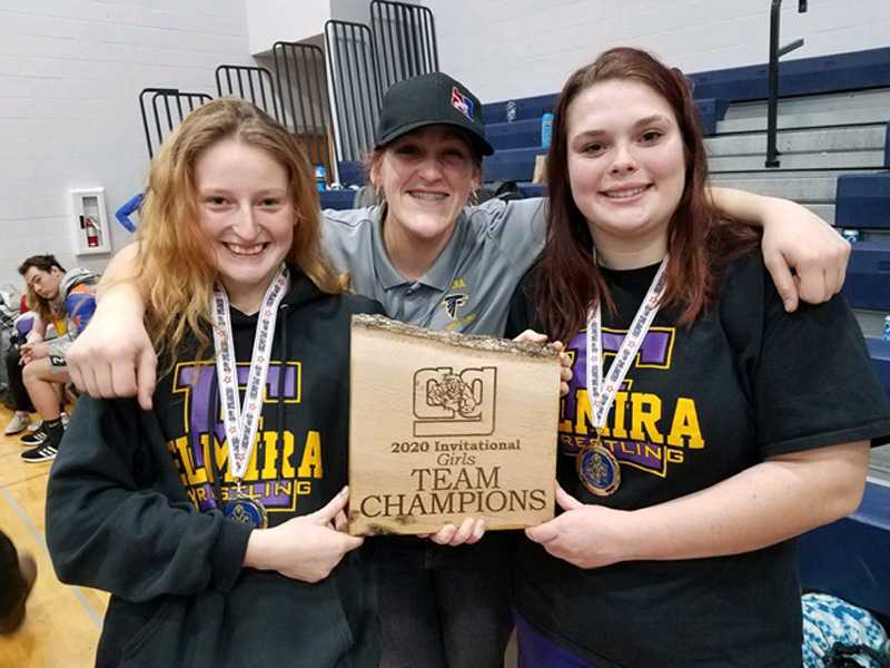 Kat Jentzsch, left, and Tayla Parsons, right, have enjoyed success wrestling for Elmira while attending Crow