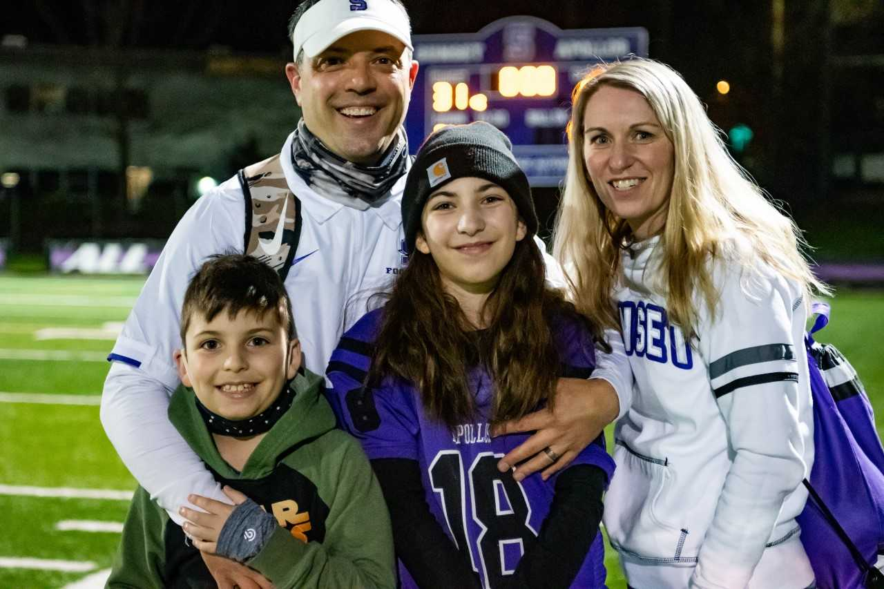 New Forest Grove coach Dominic Ferraro with his wife Beth and their children, Colton, 9, and Peyton, 12.