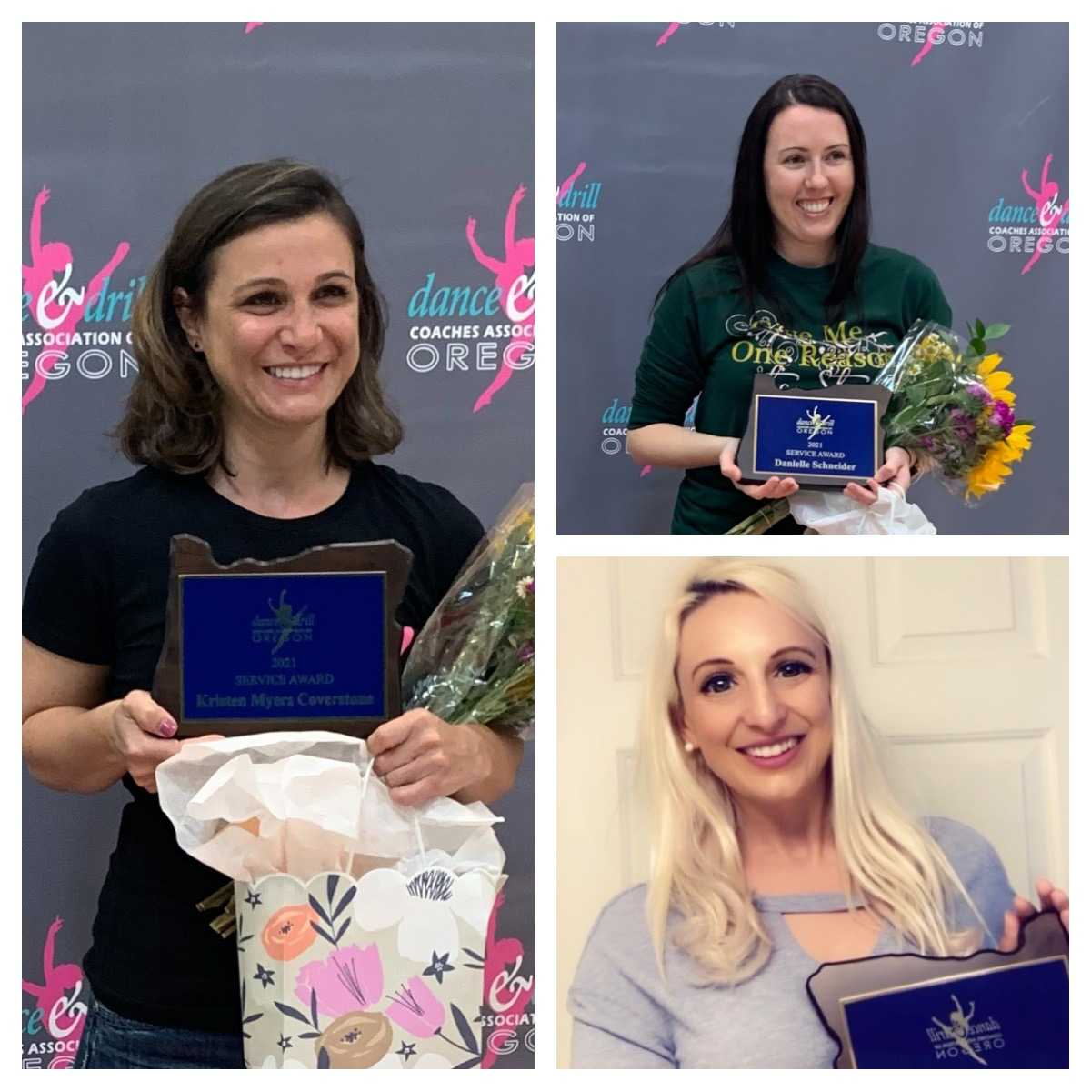 2021 DDCA Service Award Recipients Kristen Myers-Coverstone, Danielle Schneider and Kristin Alacron.