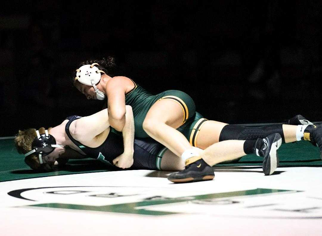 West Linn's Destiny Rodriguez has won six matches against boys this season, all of them by pin. (Photo by Jon Olson)