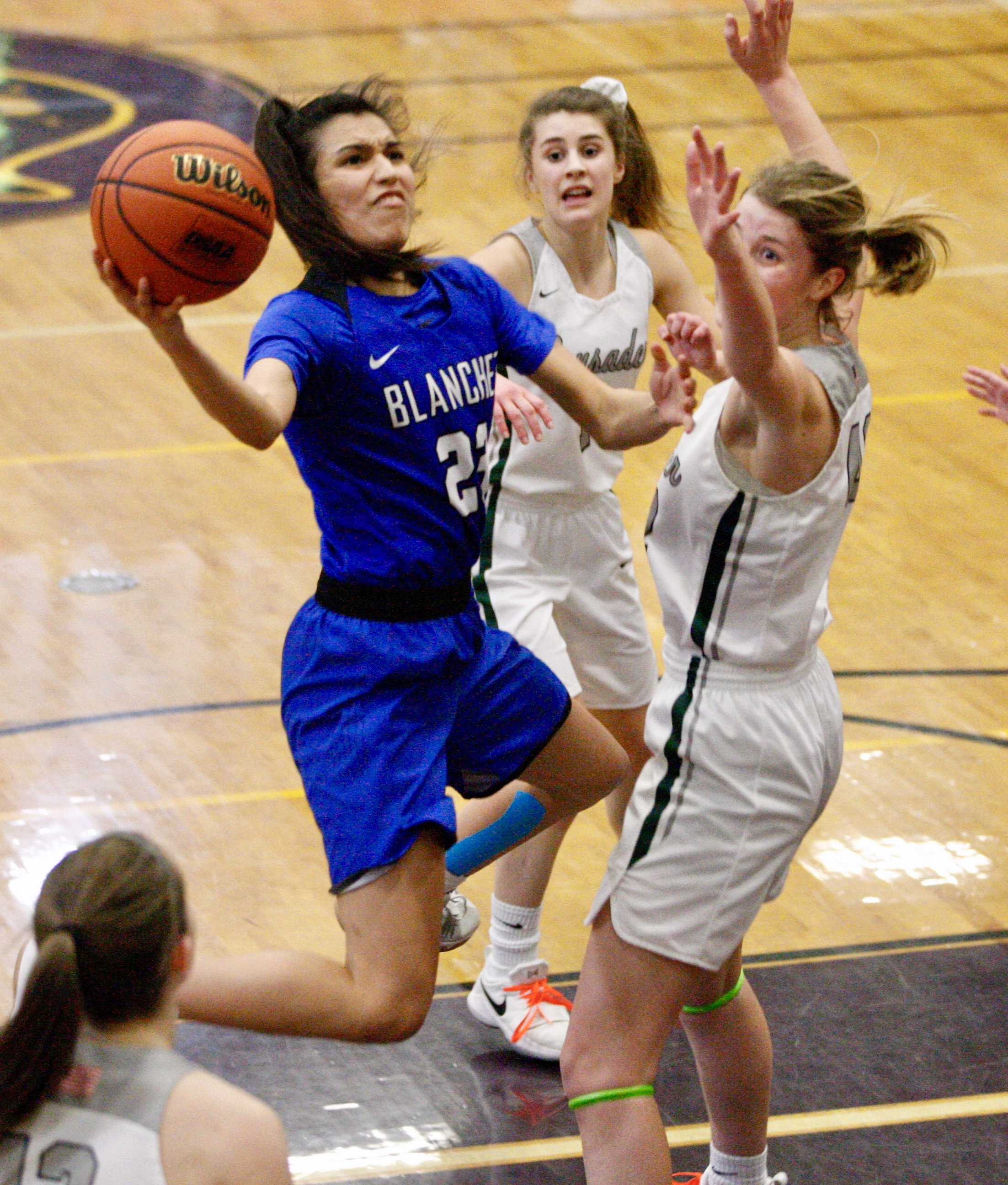 Blanchet Catholic guard Ana Coronado squeezes past Salem Academy's Jamie VanderStoel for two points. (Photo by Norm Maves Jr.)