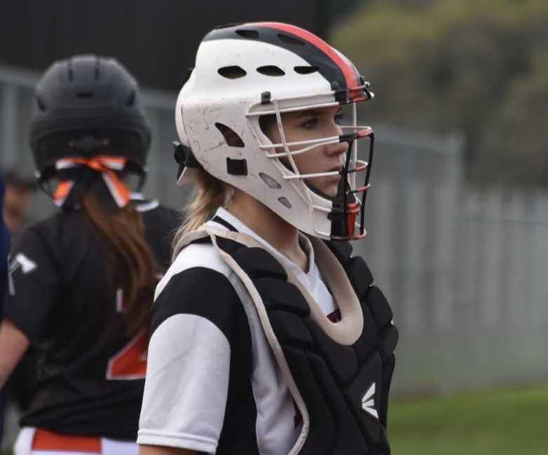 Catcher Sofia Cicerone had three of Dayton's 11 hits Tuesday. (Photo by Jeremy McDonald)