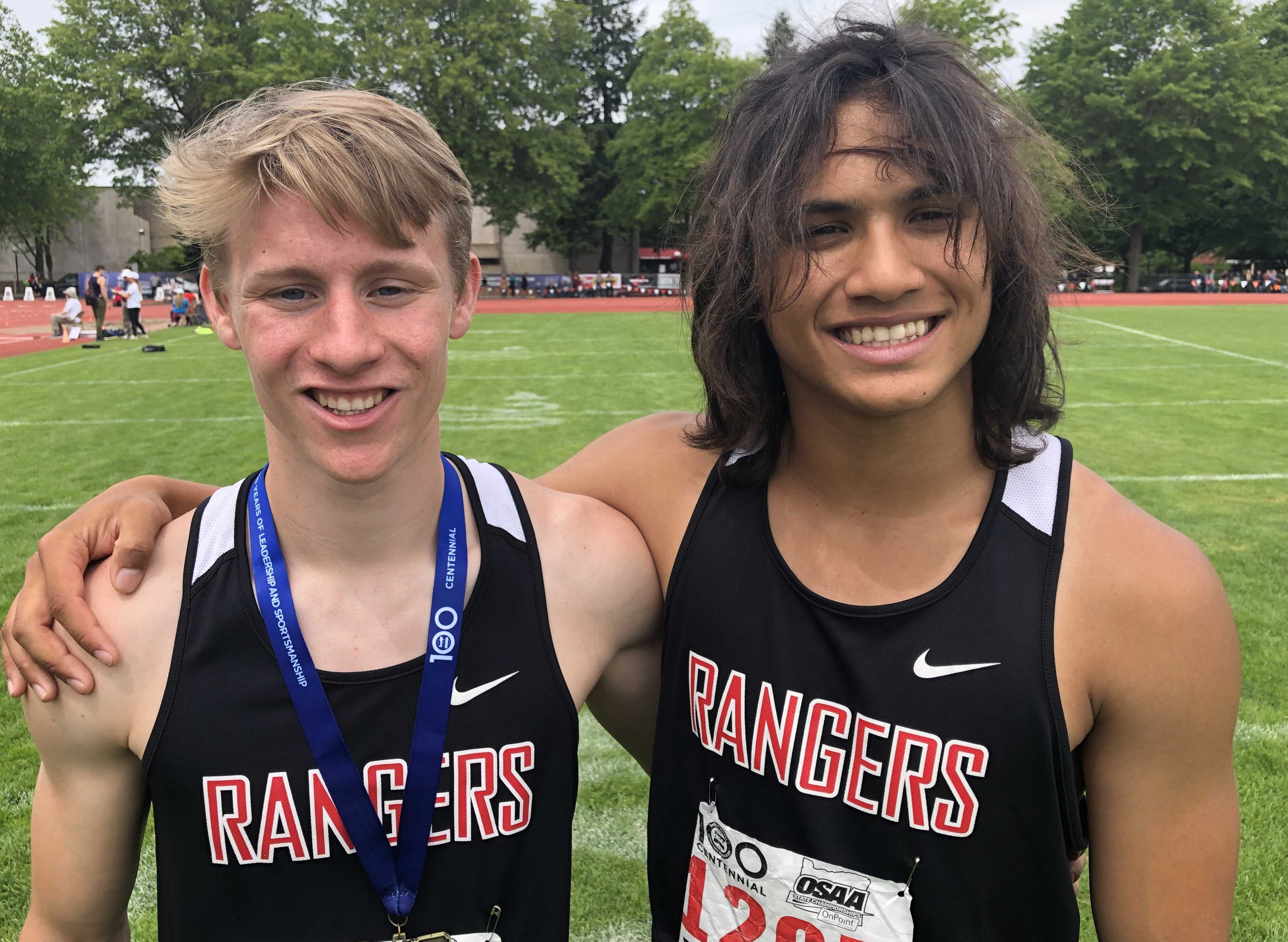 Tanner Masterson (left) and Asa Farrell helped lead Dufur to the 1A title Saturday.