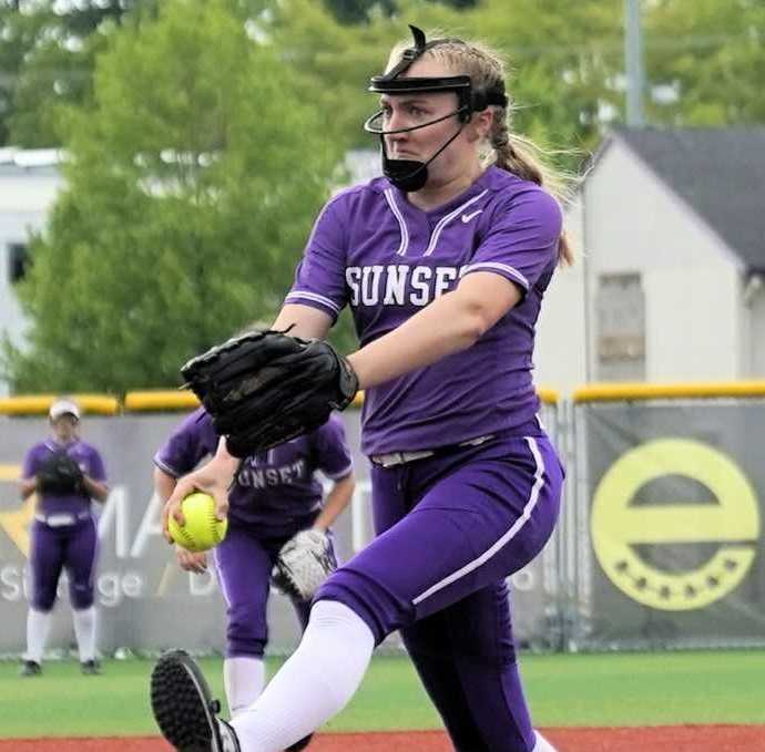 Sunset pitcher Grace Kimball has held opponents to three runs in three playoff games. (Photo by Jon Olson)