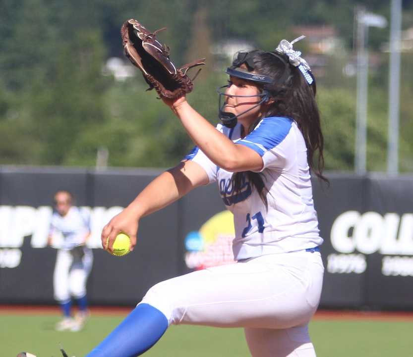 La Grande's Allie Brock struck out 12 on Saturday, giving her 220 this season. (NW Sports Photography)