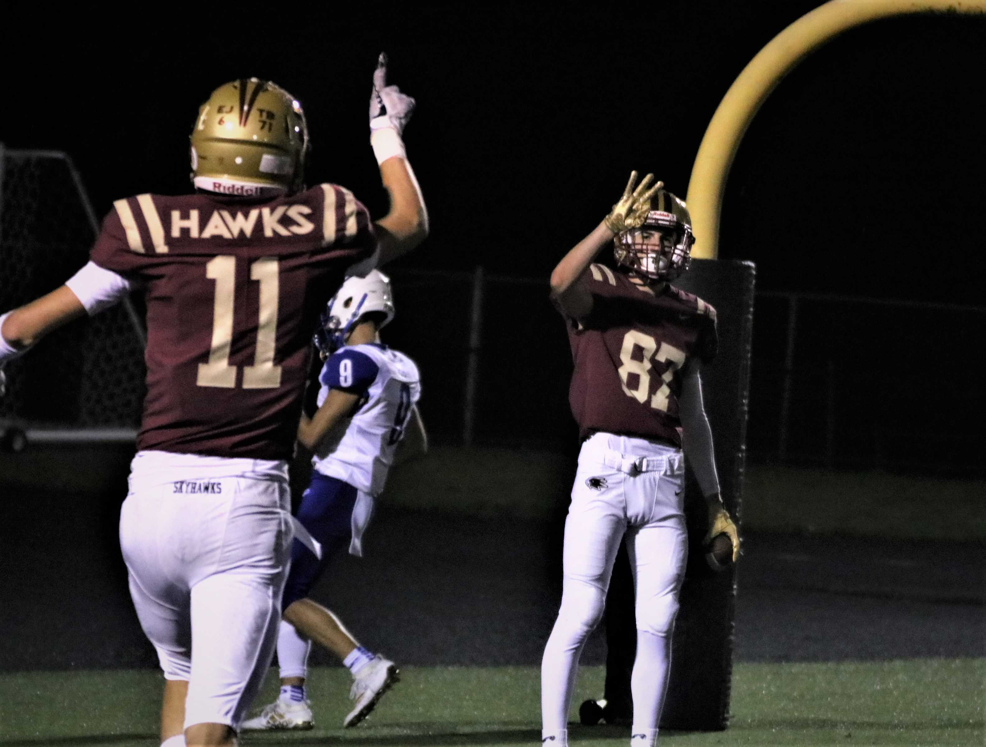 Mason Delinger (left) finished with one touchdown while Joshua Calo (right) finished with three Friday night for Southridge.