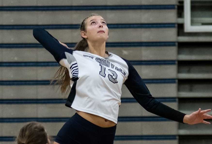Senior hitter Lindsey Hartford is part of a diverse attack for Wilsonville. (Courtesy Greg Artman Photography)