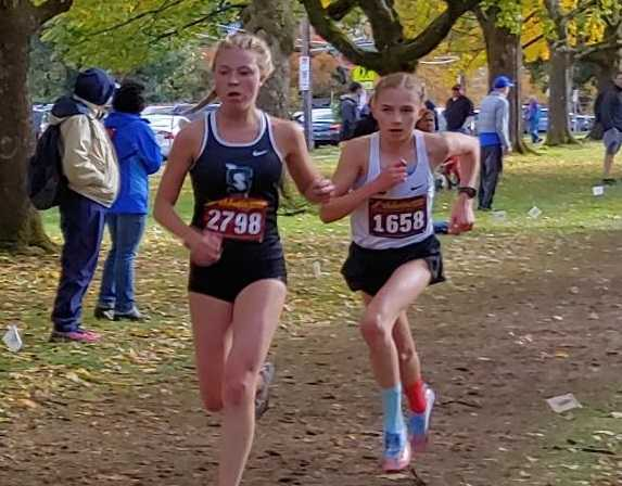 Summit's Fiona Max (left) beat Lincoln's Kate Peters (right) by eight seconds Saturday. (Photo by Doug Binder)