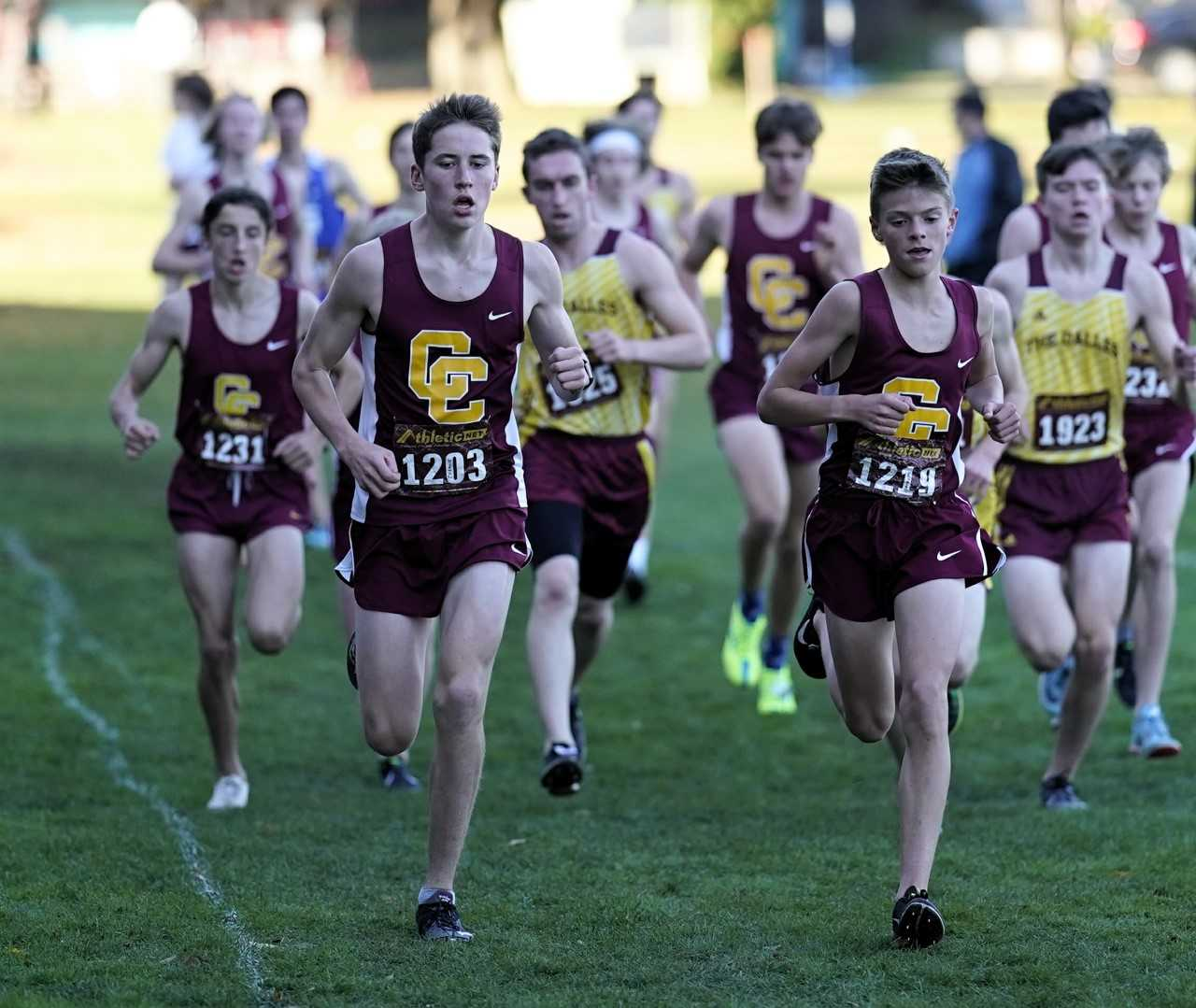Central Catholic edged Clackamas by two points to win the Mt. Hood Conference district meet. (Photo by Jon Olson)