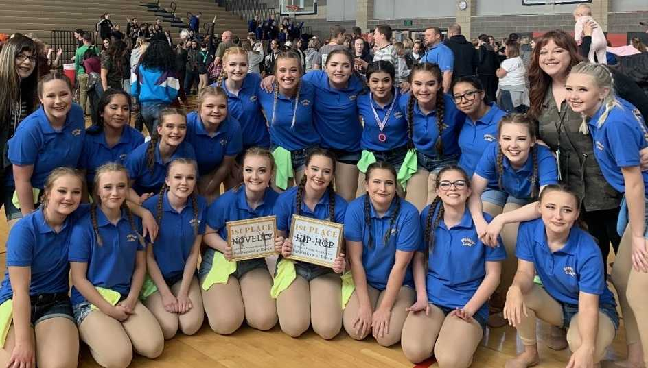 Crook County High School following their first place finishes in Hip Hop & Novelty at the Rex Putnam Dance Competition.
