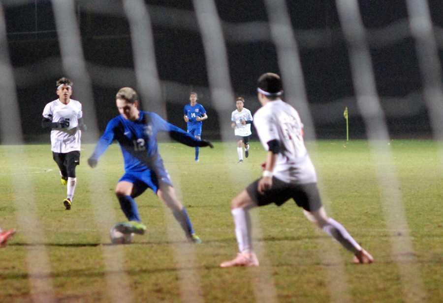 Catlin Gabel forward Jed Whalen-Stewart stares down the goal.