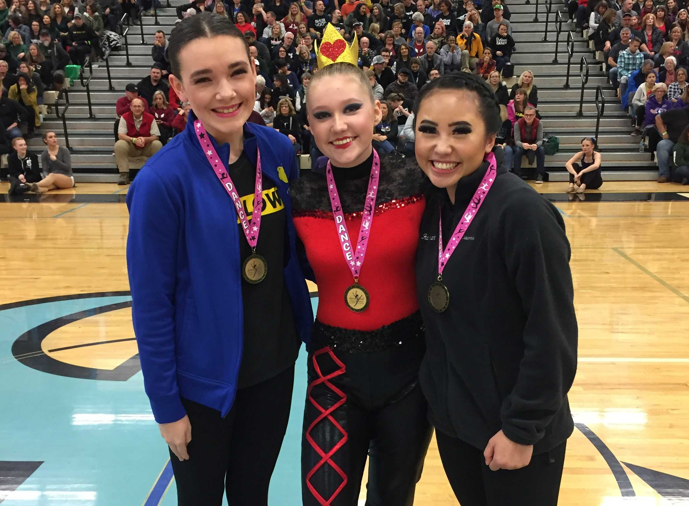 Advanced drill down winners (from left) Hanna Gibson of Barlow,, Kalista DeHarsh of Thurston and Hanna Li of Sprague.