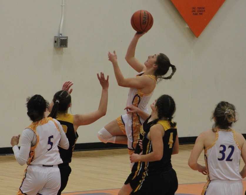 Hidden Valley's Jada Hurley goes up for two of her 11 points Friday against Philomath. (Photo courtesy Hidden Valley HS)