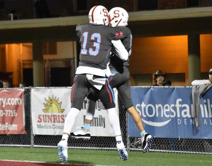 Treyden Harris (13) and Zach Webster (5) helped lead South Salem back from a 20-0 deficit Friday. (Photo by Jeremy McDonald)
