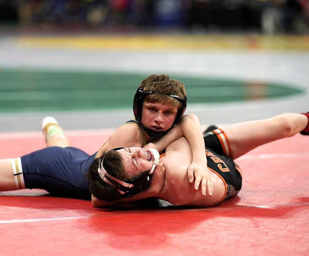 Tucker Bonner is among four Crook County wrestlers to advance to Saturday night's finals. (Photo by Jon Olson)