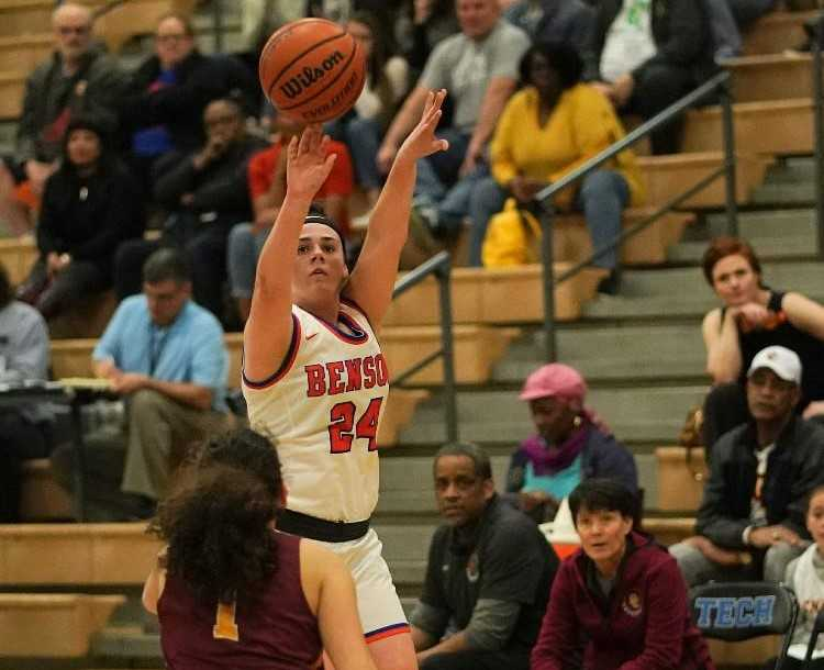Bria Dixson scored 17 of Benson's final 21 points Tuesday in an overtime win over Central Catholic. (Photo by Jon Olson)