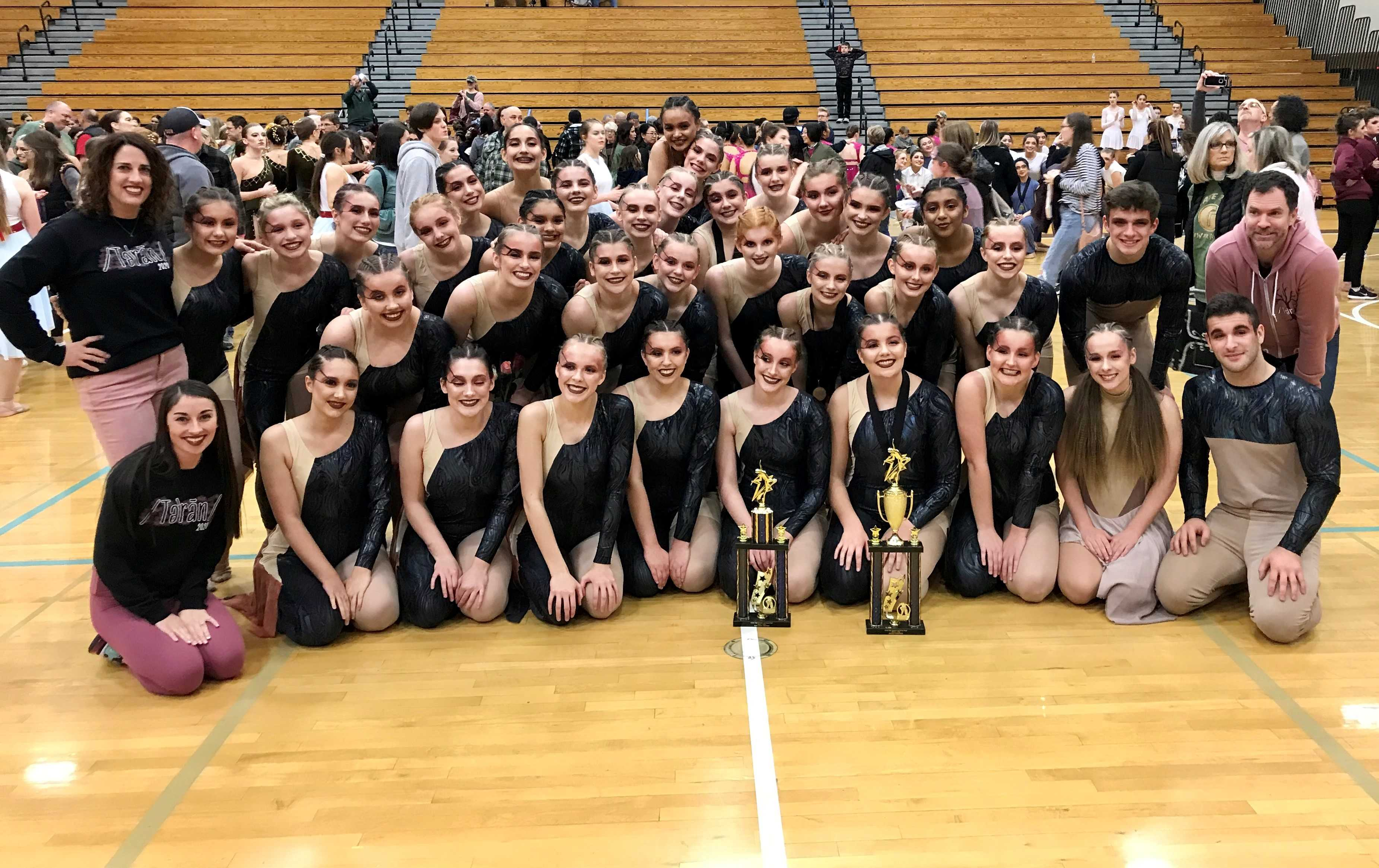 The Cougar Dancers after winning the Show Division and Grand Champion honors at Liberty.