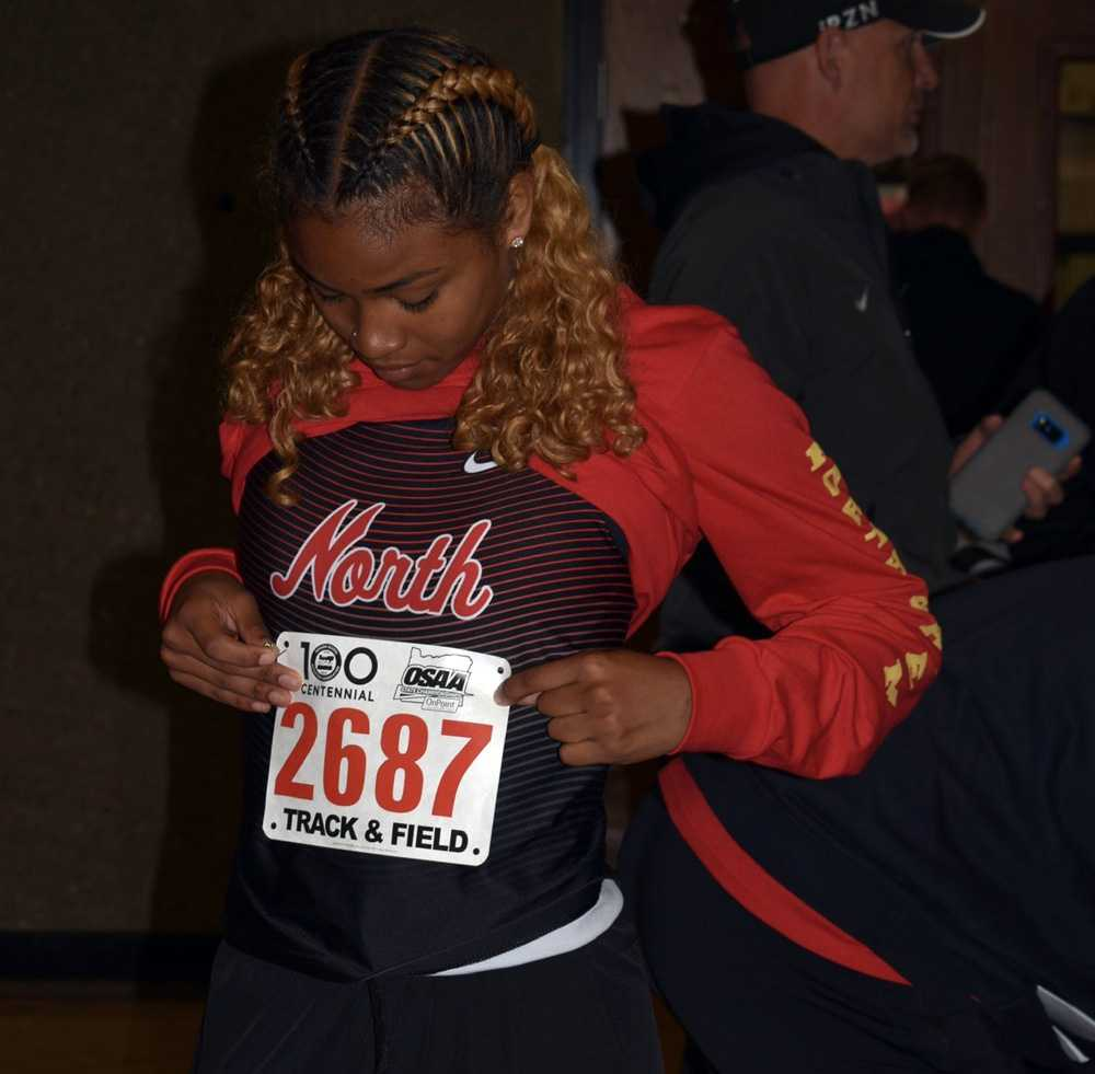 Maliya Thompson is a blur on the track. We wanted a clear shot, so here she is before a race. Photo by Stephanie Berger