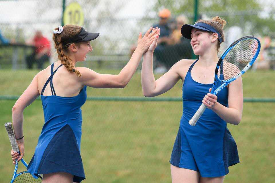 Sarah Forester, left, and Olivia McGough have been quite the successful doubles pair for Corvallis. Photo by Julia Rask