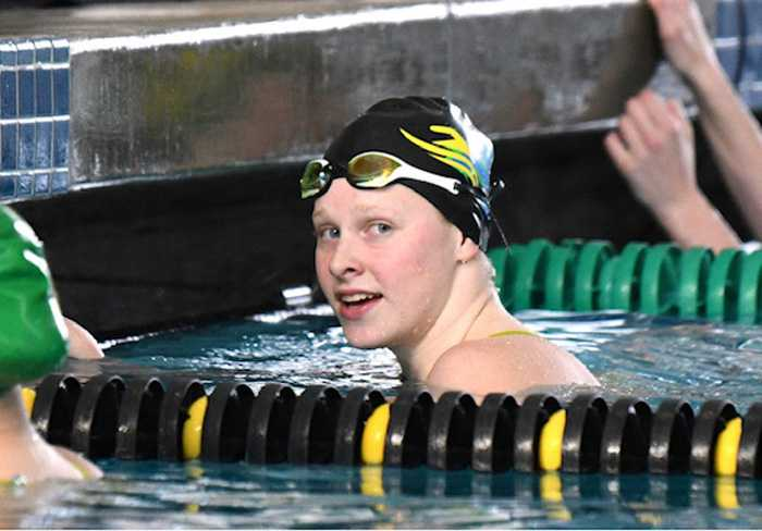 Kaitlyn Dobler capped her HS career in February by winning the 50 free and 100 breaststroke in state-record times