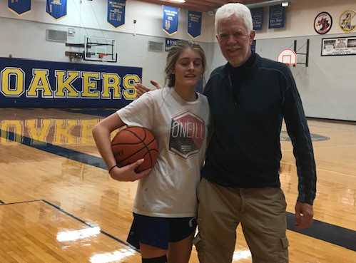Oakland coach Don Witten with granddaughter Fontelle
