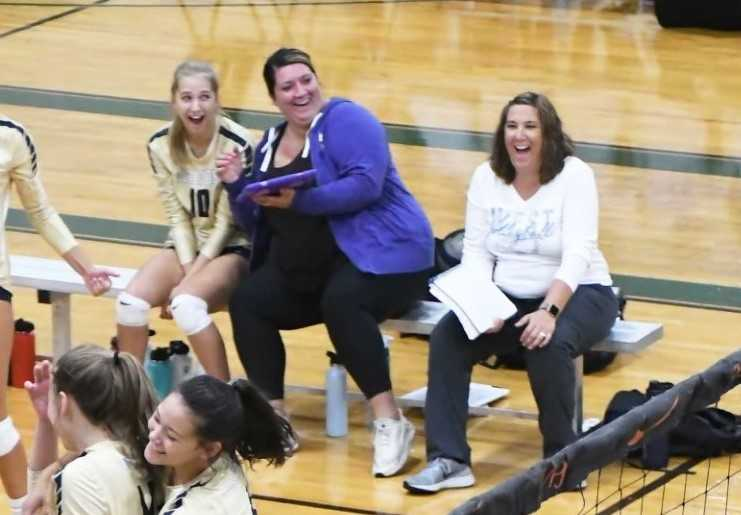Megan Wallace (center) coached under Kelli Backer (right) for six seasons at West Albany. (Photo by Ed McReynolds)