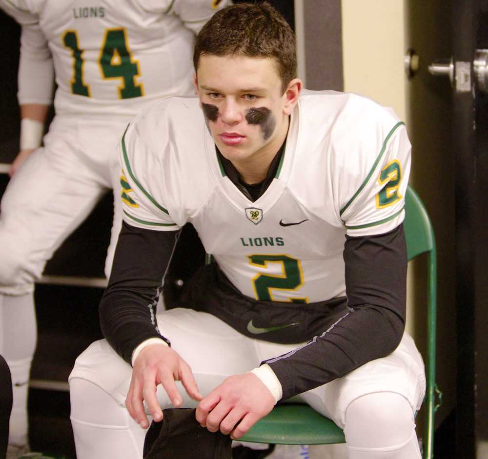 A determined Tim Tawa before the state championship game his junior year. Photo by Bradley Cantor, Photosports Northwest