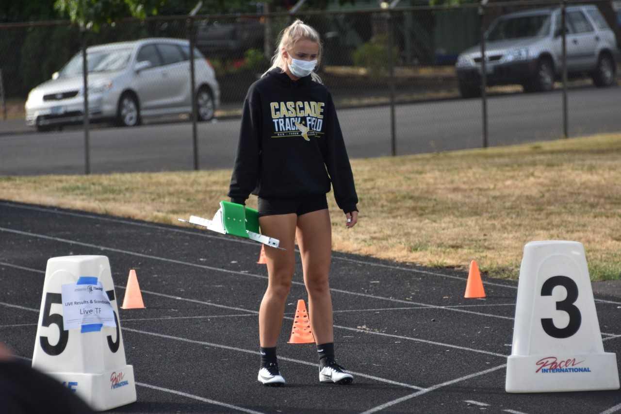 Cascade's Emma Gates prepares to run Thursday in Springfield. (Photo by Jeremy McDonald)