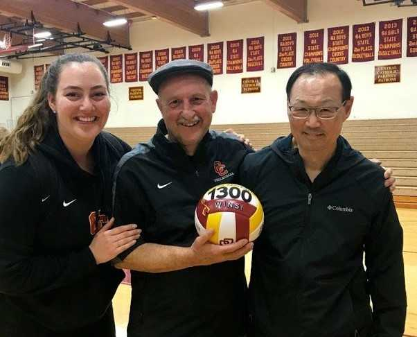 Kayla Hambley (left) and Malcolm Doi (right) with Rick Lorenz after his 1,300th win two years ago.