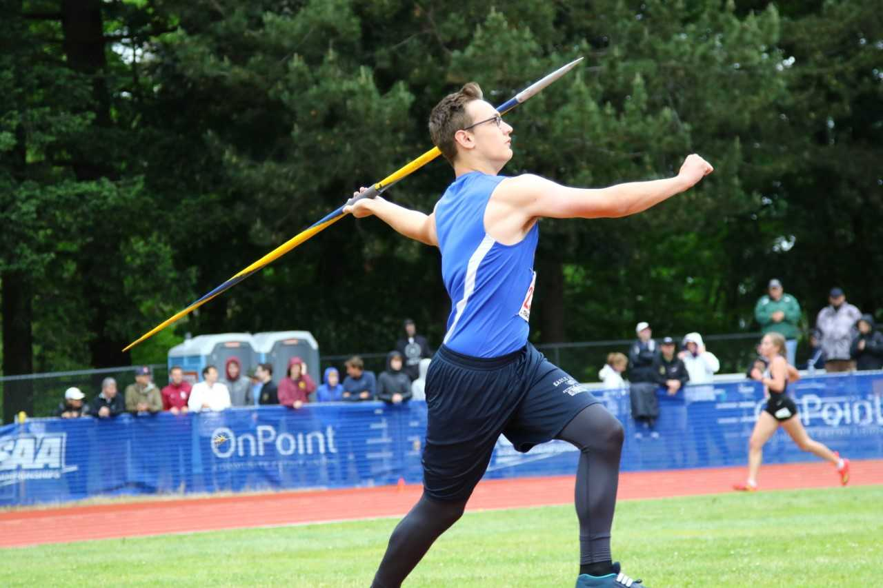 Austin Strawn, who has signed with Oregon Tech, is in position to break Eagle Point's javelin record. (NW Sports Photography)