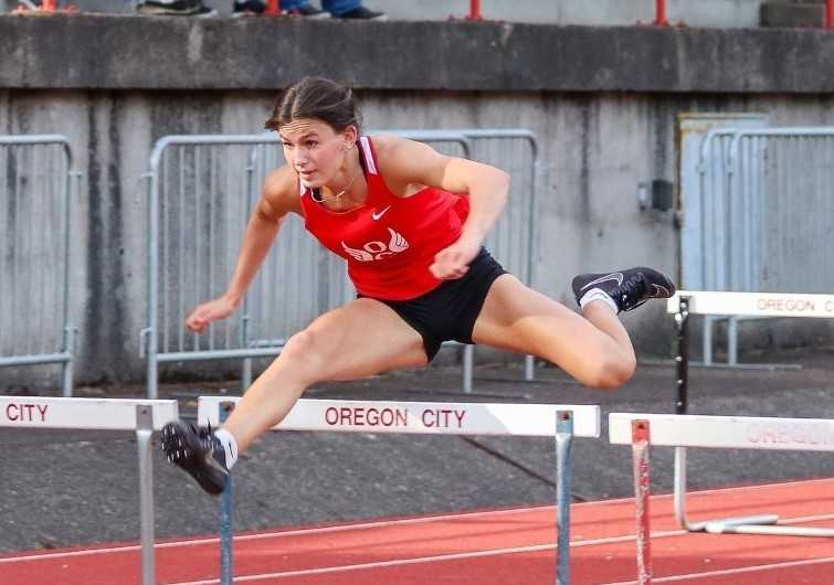 Oregon City's Harley Daniel is among the top five in the state all-time in both hurdles races. (Photo by Tamara Peyton)
