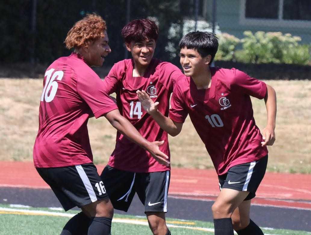 Glencoe's Miguel Lopez (10), with Danny Hernandez (14) and Jonny Bazan (16), has six goals. (Photo by Norm Maves Jr.)