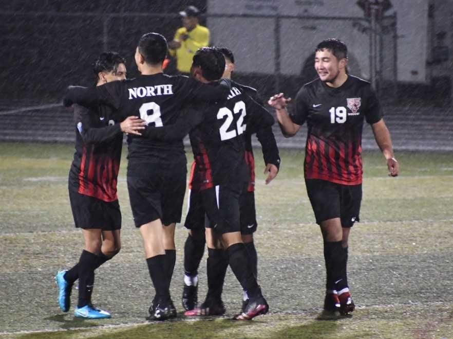 North Salem players celebrate a goal in Tuesday's 3-1 win over Silverton. (Photo by Jeremy McDonald)