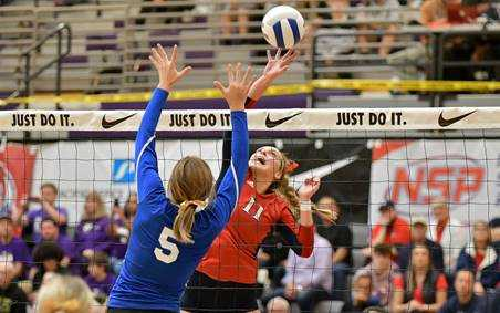 Kennedy's Sophia Carley attacks against Glide in the 2A quarterfinals. (Photo by Andre Panse)