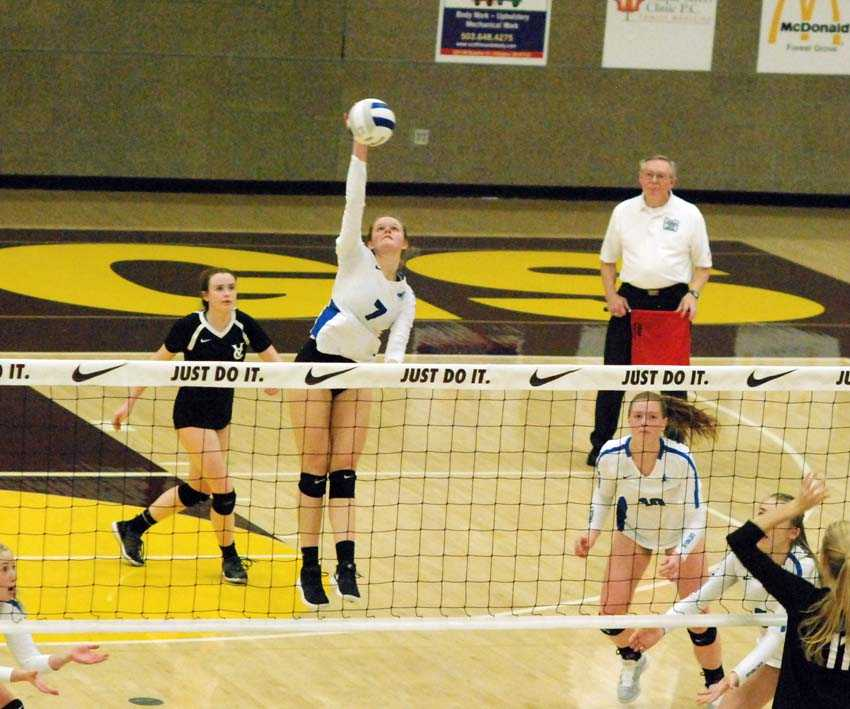 Kayla Robbins takes one of her 92 swings for Valley Catholic. She scored on 42 of them in the Valiants' five-set win