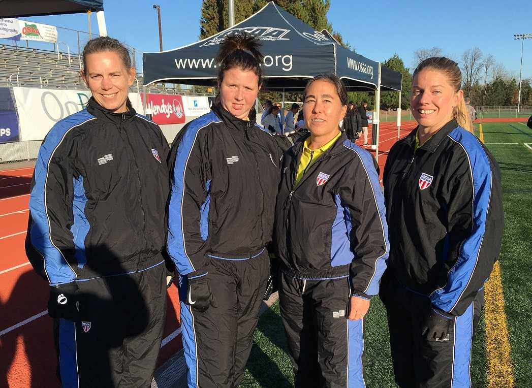 The crew for the 4A girls final was (from left) Dana Gorman, Loraine Hill, Melanie Namkoong and Terrah Owens.