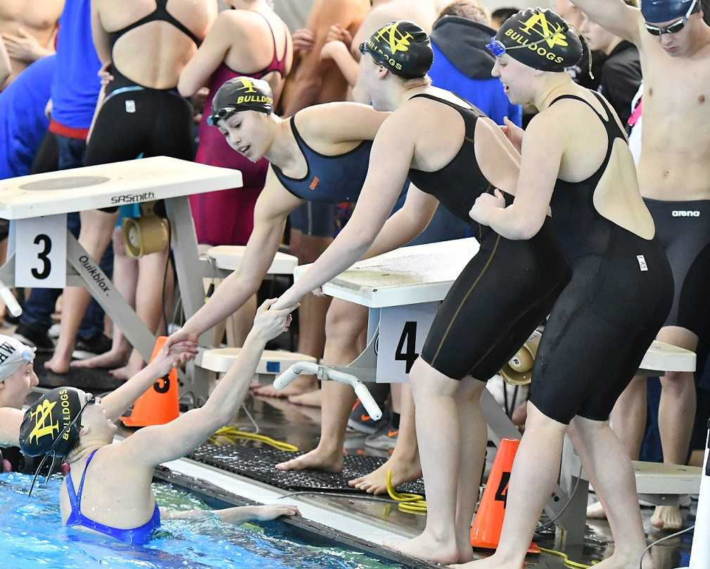 North Bend's 200-yard freestyle relay team set a school record at the state meet last season. (NW Sports Photography)