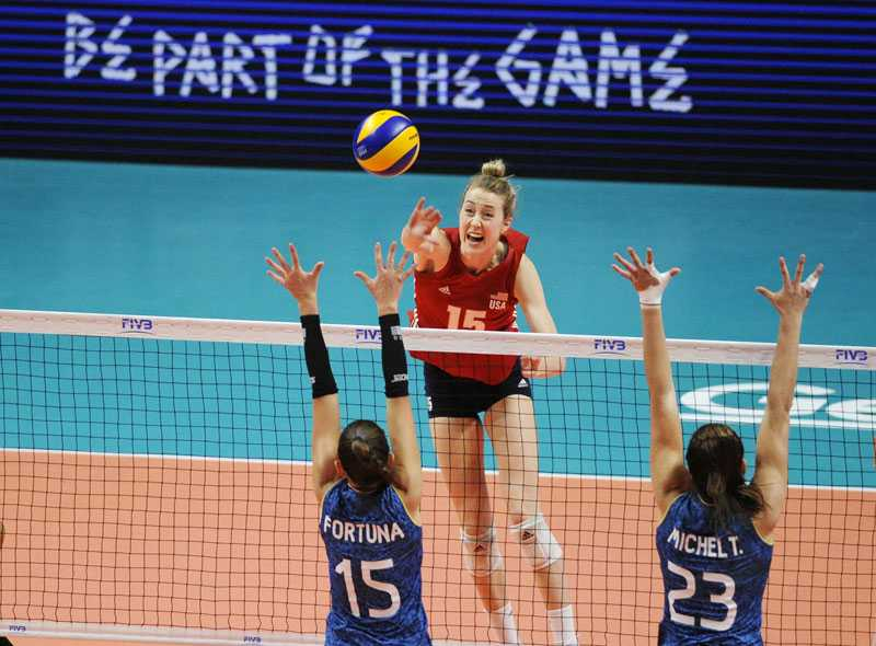 Kim Hill attacks from the back row for the US Women's National Team. Tokyo 2020 here she comes! Photo courtesy FIVB