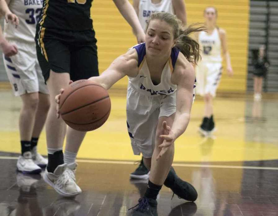 Baker's Sydney Younger goes after the ball against Philomath in a 4A semifinal Friday night.