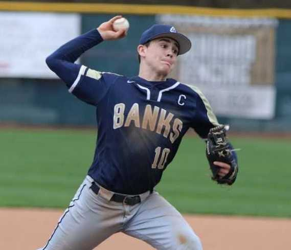 Senior shortstop and pitcher Hayden Vandehey played on Banks football and basketball 4A title teams. (Photo by Stewart Monroe)
