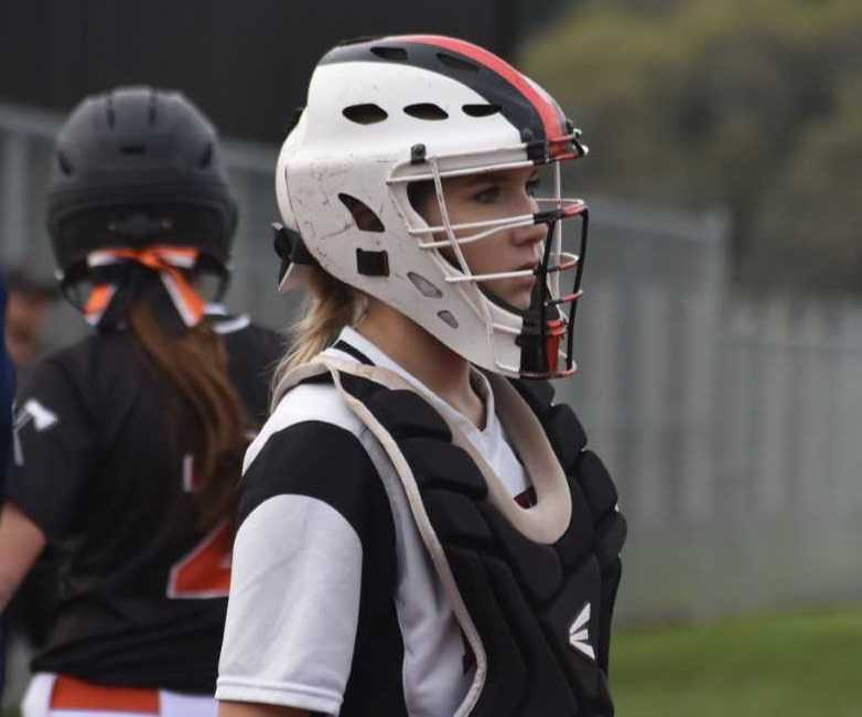 Catcher Sofia Cicerone had three of Dayton's 11 hits Tuesday. (Photo by Jeremy McDonald)