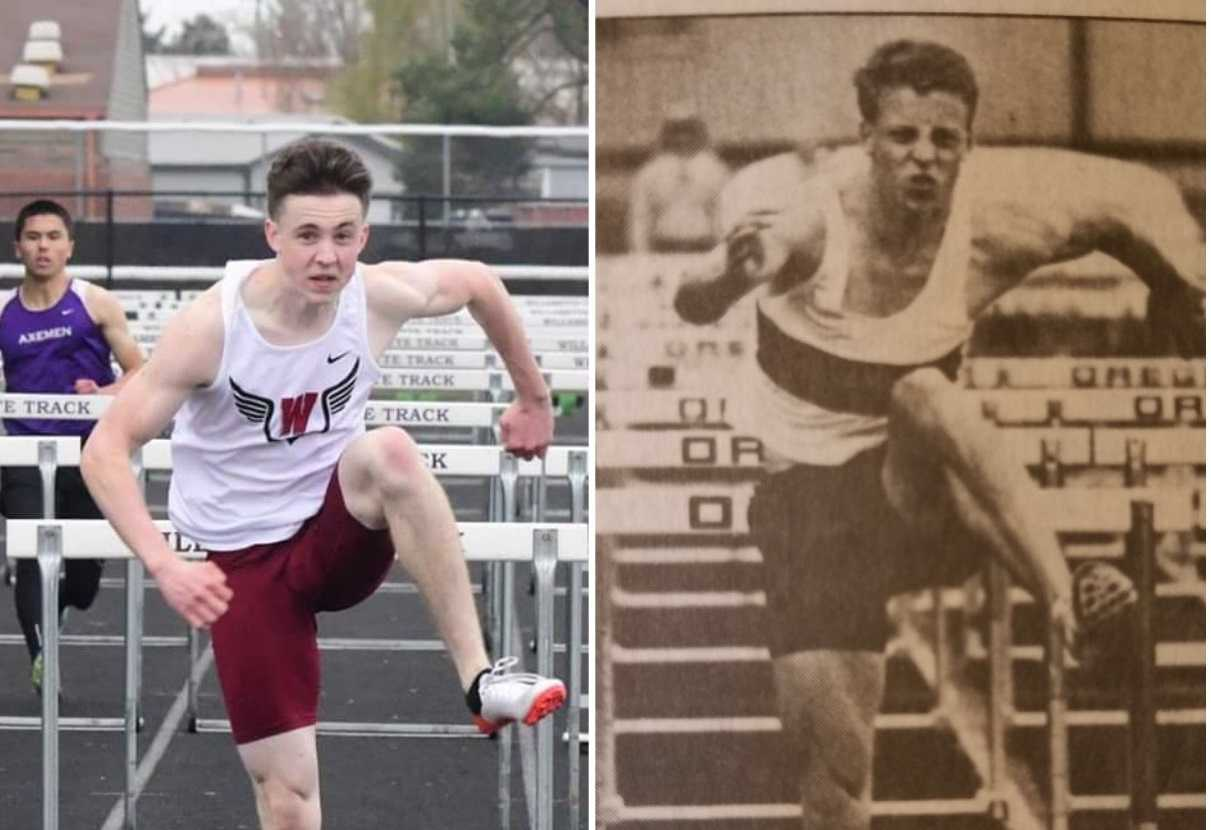 Dylan Murray (left) is chasing Willamette's school record in the high hurdles, held by his father, Ron (right). (Willamette HS)