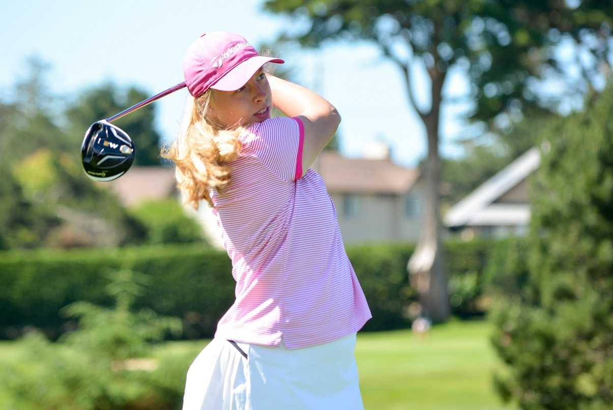 Summit's Olivia Loberg tees off at the Oregon Junior Amateur last year. (Courtesy OGA)